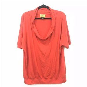 ST. JOHN Spa XL Red Cowl Neck Top Short Sleeve